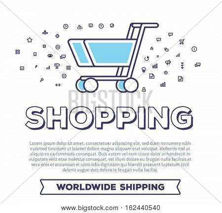 Vector Creative Illustration Of Shopping Trolley With Word Typography And Cloud Of Line Icons On Whi