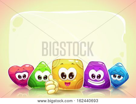 Funny background with cute colorful jelly shape characters and place for text. Vector childish horizontal banner.