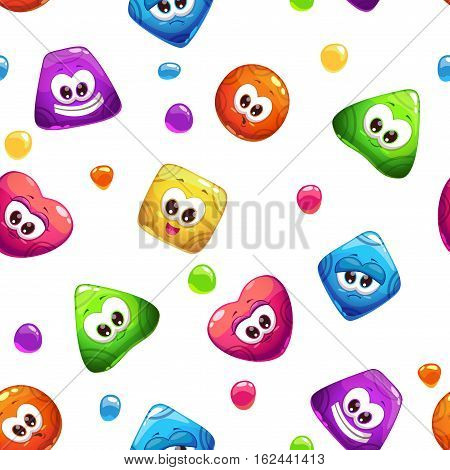 Seamless pattern with funny cute colorful jelly characters on white background. Vector childish texture.