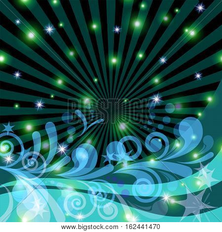 Abstract Background with Symbolical Patterns, Rays, Stars and Geometric Figures