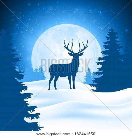 Lonely deer in snowbound forest on background moon. Christmas winter landscape