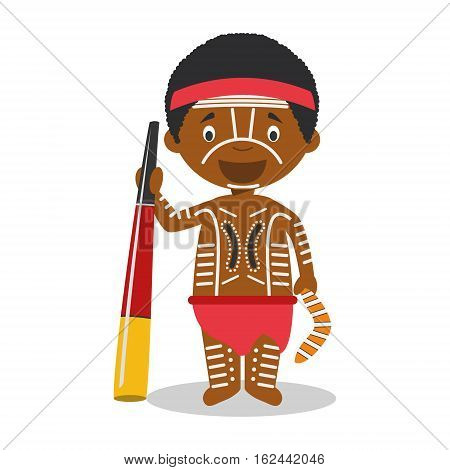 Character from Australia (Aboriginal) dressed in the traditional way with didgeridoo Vector Illustration. Kids of the World Collection.