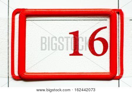 a calendar date with a number sixteen