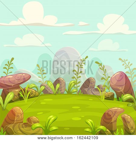Cartoon cute sunny day nature landscape. Vector outdoor illustration.