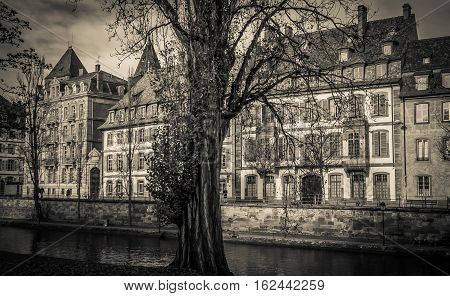 Medieval city infested by ghost. Panoramic view of Strasbourg in black and white