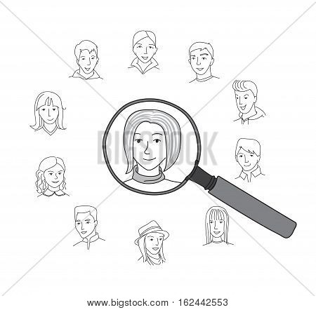 People search, selection, Business recruitment round concept, Many people faces and one selected with magnifying glass, thin line style vector
