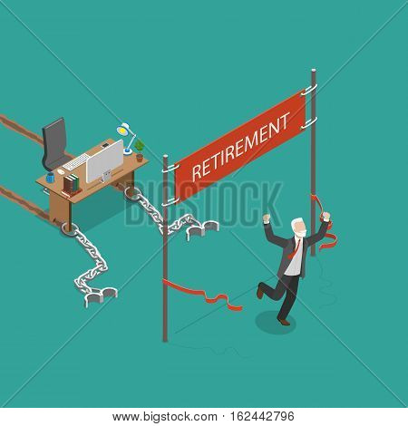 Retirement vector flat isometric illustration. Man was chained to his work desk and was pulling it many years. Finally he has reached his retirement and he is very happy.