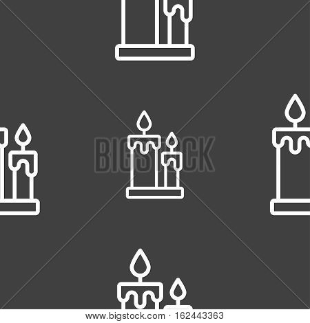 Candle Icon Sign. Seamless Pattern On A Gray Background. Vector