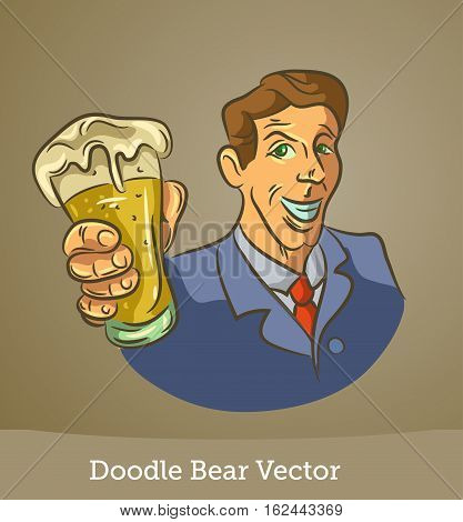 doodle man with a beer isolated on brown background. Vector EPS10