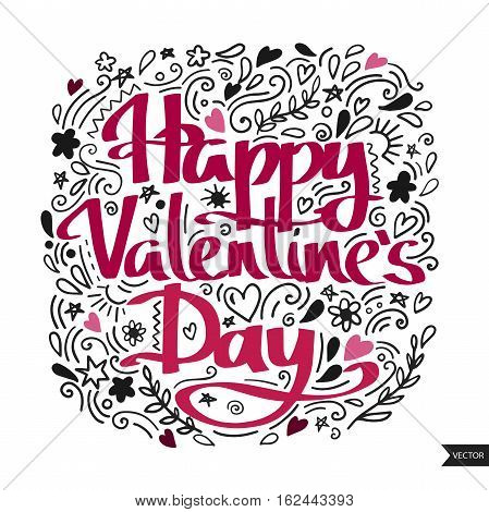 Happy Valentine's day postcard. Lettering for Valentine's day. Ink illustration. Modern brush calligraphy. Isolated on white background.