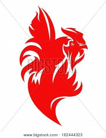 red fire rooster vector design - symbol of Chinese new year 2017