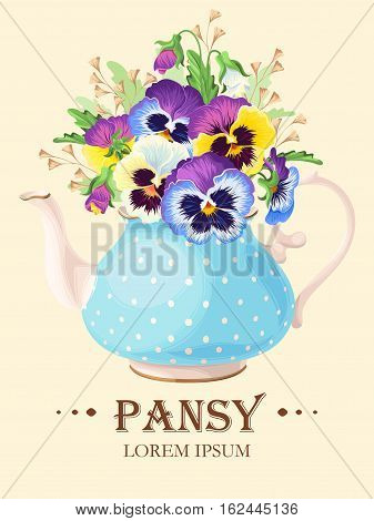 Vector greeting card with pansies in vintage teapot