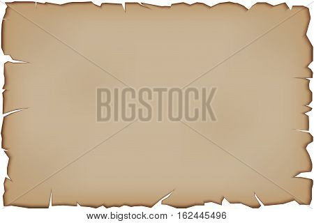 Old Paper Scroll with tattered edges. Vector illustration Isolated on white background.