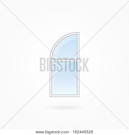 Window frame vector illustration, single closed modern window with rounded valve. White plastic window with blue sky glass, outdoor objects collection, flat style. Isolated design element. Eps 10.