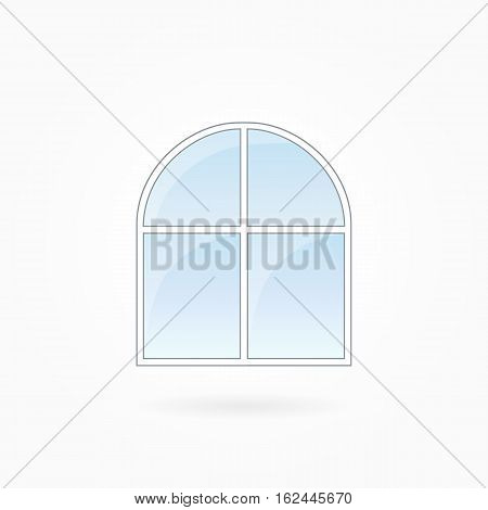 Window frame vector illustration, two-leaved closed modern window with arched top. White plastic window with blue sky glass, outdoor objects collection, flat style. Isolated design element. Eps 10.