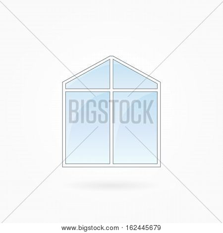 Window frame vector illustration, double modern window with triangular top. White plastic window with blue sky glass, outdoor objects collection, flat style. Editable isolated design element. Eps 10.