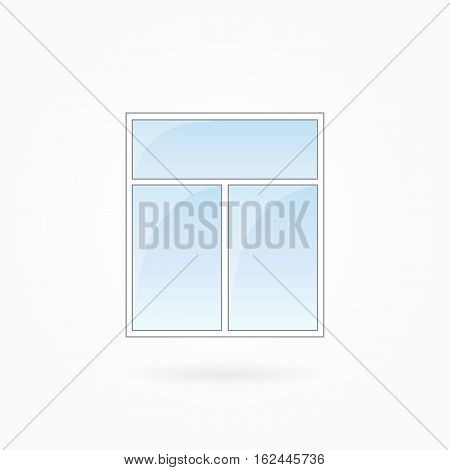 Window frame vector illustration, two-leaved square closed modern window. White plastic window with blue sky glass, outdoor objects collection, flat style. Editable isolated design element. Eps 10.