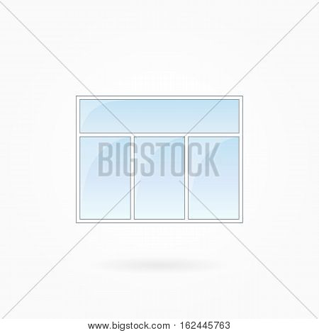 Window frame vector illustration, rectangular threefold closed window with single top. White plastic window with blue sky glass, outdoor objects collection, flat style. Isolated design element. Eps 10
