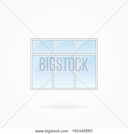 Window frame vector illustration, rectangular threefold closed window with triple top. White plastic window with blue sky glass, outdoor objects collection, flat style. Isolated design element. Eps 10