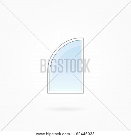 Window frame vector illustration, single closed modern window with rounded corner. White plastic window with blue sky glass, outdoor objects collection, flat style. Isolated design element. Eps 10