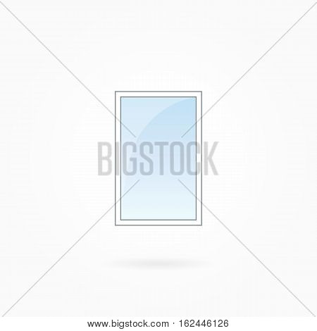Window frame vector illustration, single closed modern windows. White plastic window with blue sky glass, outdoor objects collection, flat style. Isolated design element for your creations. Eps 10.
