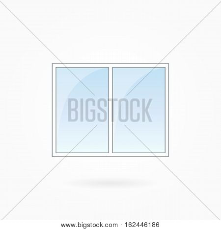 Window frame vector illustration, two-leaved square closed modern window. White plastic window with blue sky glass, outdoor objects collection, flat style. Editable isolated design element. Eps 10