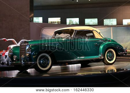 Stuttgart, Germany, 09 December 2016. Old and new cars collection shows the history of Mercedes from the beginnings in Mercedes museum Stuttgart Germany.