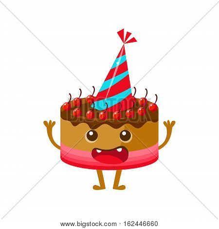 Chocolate And Cherry Birthday Cake In Party Hat, Happy Birthday And Celebration Party Symbol Cartoon Character. Colorful Humanized Birthday Party Associated Element With Arms And Legs.