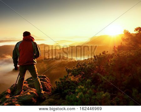 Photograph Silhouette  Take Photo. Man Enjoy  Photography Of  Fall