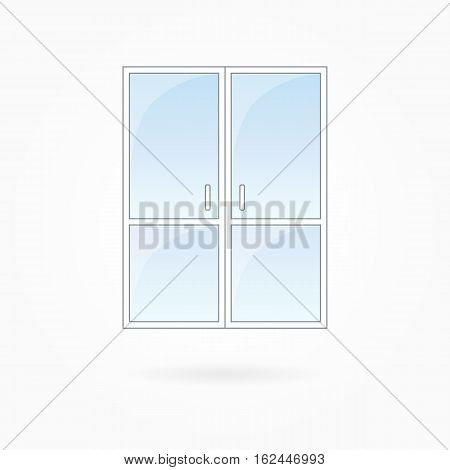 Door frame vector illustration, twin closed doors with two vertical halves. White plastic door with blue sky glass, outdoor objects collection, flat style. Editable isolated design element. Eps 10