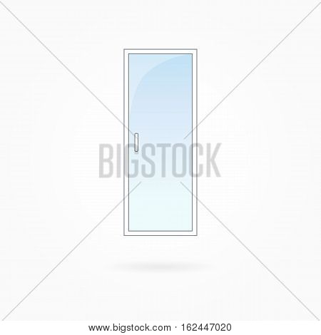 Door frame vector illustration, single closed transparent vitreous door. White plastic door with blue sky glass, outdoor objects collection, flat style. Editable isolated design element. Eps 10