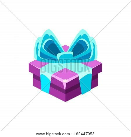 Purple Gift Box With Blue Bow With Present, Decorative Wrapped Cardboard Celebration Giftbox. Colorful Isolated Icon With Specially Packed Party Offering.