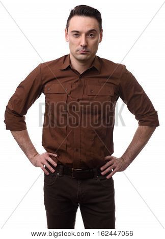 Serious Man With Hand On Hips