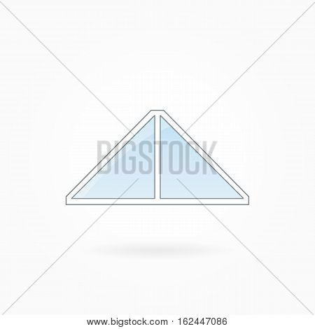 Window frame vector illustration, two-leaved triangular closed modern window. White plastic window with blue sky glass, outdoor objects collection, flat style. Editable isolated design element. Eps 10
