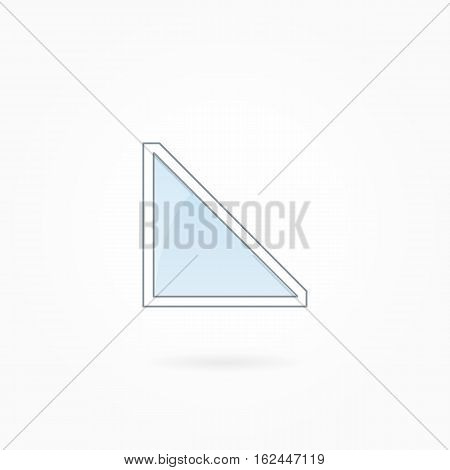 Window frame vector illustration, single triangular closed modern window. White plastic window with blue sky glass, outdoor objects collection, flat style. Editable isolated design element. Eps 10