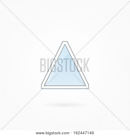 Window frame vector illustration, single triangle closed modern window. White plastic window with blue sky glass, outdoor objects collection, flat style. Editable isolated design element. Eps 10