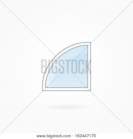 Window frame vector illustration, single rounded angular closed window. White plastic window with blue sky glass, outdoor objects collection, flat style. Editable isolated design element. Eps 10