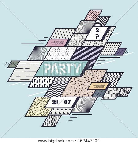 Colored geometric design posters for parties and events