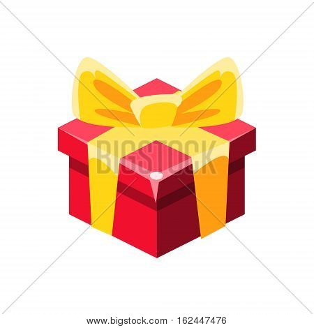 Red Gift Box With Yellow Bow With Present, Decorative Wrapped Cardboard Celebration Giftbox. Colorful Isolated Icon With Specially Packed Party Offering.