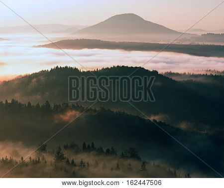 Beautiful Autumnal Landscape With Mountain View,  Morning Fog