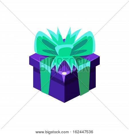 Dark Blue Gift Box With Present, Decorative Wrapped Cardboard Celebration Giftbox. Colorful Isolated Icon With Specially Packed Party Offering.