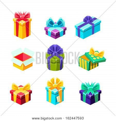Gift Boxes With And Without A Present Inside Decorative Wrapped Cardboard Boxes Collection. Colorful Isolated Icons With Party And Other Celebrations Festive Gifts In Special Package.