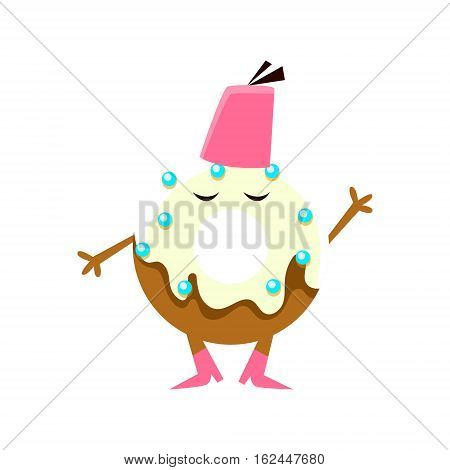 Humanized Doughnut With White Glazing Wering Fez Hat Cartoon Character With Arms And Legs. Sweet Pastry Donut With Sprinkles Isolated Vector Illustration.