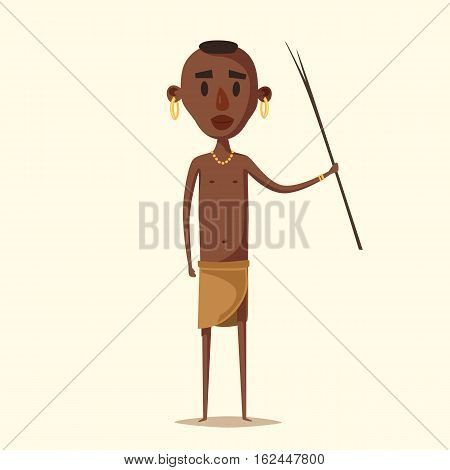 African man. Indigenous south American. Cartoon vector illustration. Aborigine. Culture and traditions people tribe