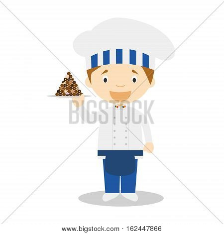 Pastry Chef Character with chocolates typical of Belgium. Vector Illustration. Kids of the World Collection.