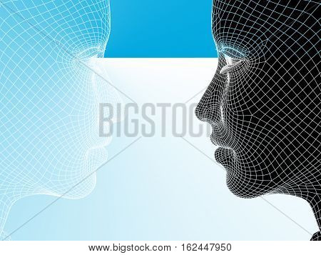 Concept or conceptual 3D illustration wireframe young human female or woman face or head on blue background