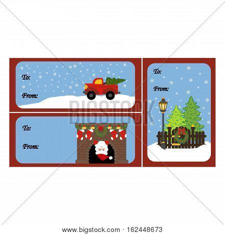 Christmas gift card. Gift box tags. Vector illustration