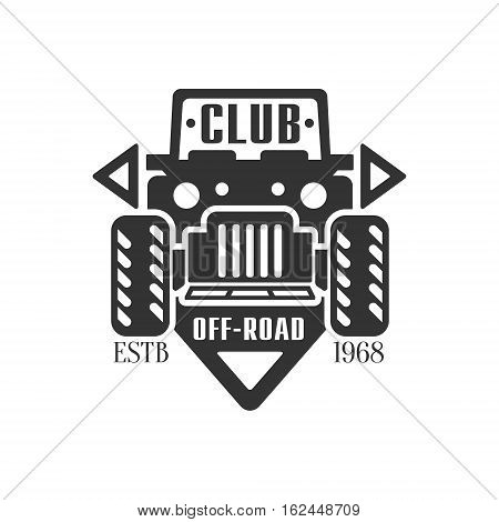 Offroader Extreme Club And Rental Black And White Promo Label Design Template. Vector Monochrome Emblem For ATV Four Wheels Renting Service With Text And Car Silhouette.