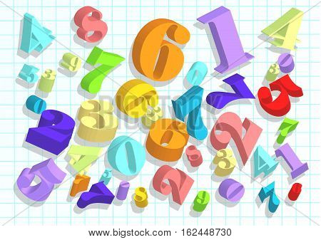 arithmetic abstract background with 3d numbers. 10 EPS
