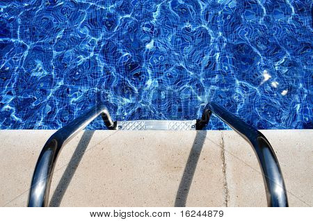 close up of a swimming pool in the summer poster